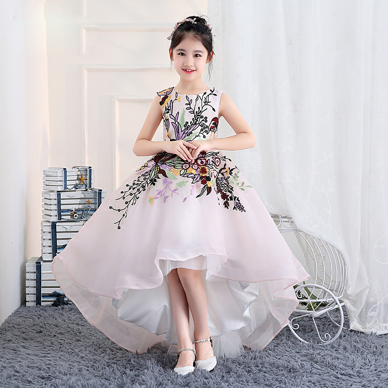 Short Front Back Long Princess Gown Girl Dress Embroidery Flower Girls Dresses Trails Ball Gown Holy