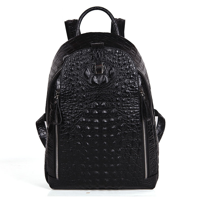 Trendy New Unisex Genuine Leather Backpack Fashion Crocodile Print Casual Small Daypack Men Women Top Layer Cowhide Stylish Bag