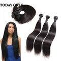 Brasileiro Do Cabelo Virgem Reta 3 Pacotes 10A Brasileiro Cabelo weave Bundles Mix Comprimento Rainha Produtos para o Cabelo da Extensão Do Cabelo Macio