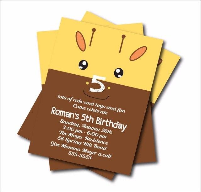 Us 5 39 40 Off Aliexpress 14 Pcs Lot Giraffe Birthday Invitations Kids Woodland Baby Shower Invites Custom Party Decoration