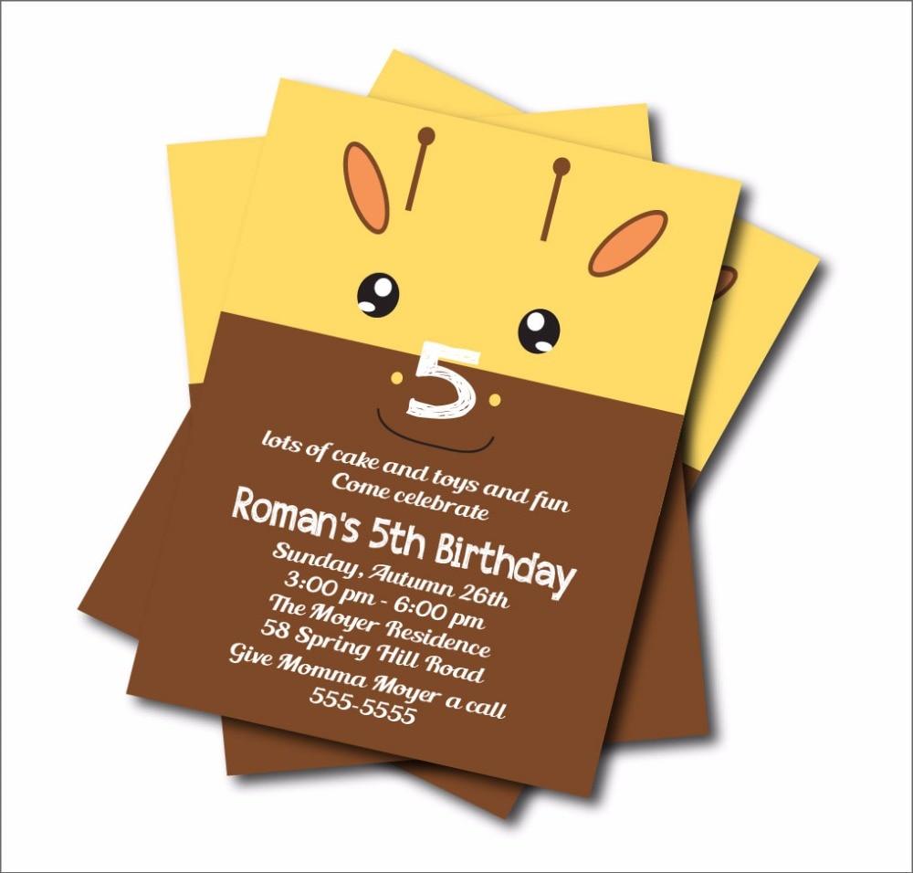 4 9 40 De Descuento 14 Piunids Lote Jirafa Cumpleaños Invitaciones Niños Bosque Baby Shower Invitación Personalizada Cumpleaños Fiesta Decoración