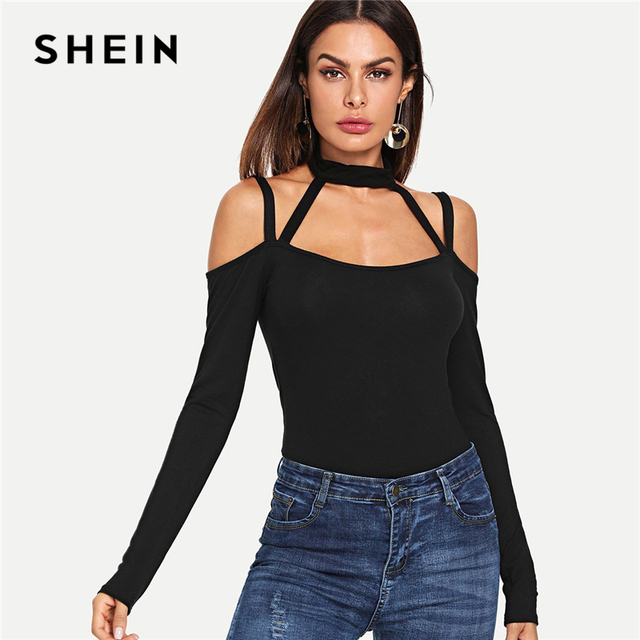 2a9de5521d3 SHEIN Black Halter Neck Textured Fitted Tee Sexy Slim Fit Long Sleeve Solid  T-shirt Women Autumn Modern Lady Night Out Tops