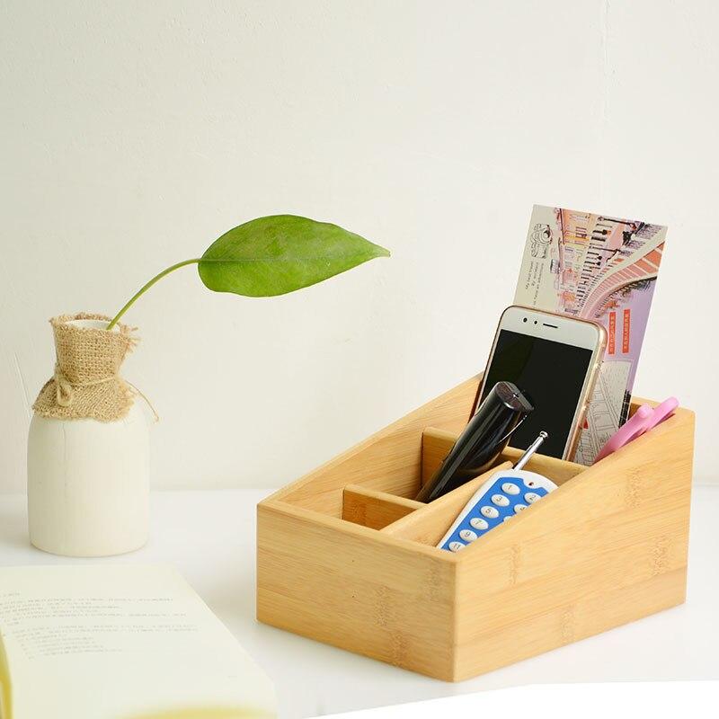 Accueil & jardin multifonction bambou boîtes de rangement & bacs Creative bois boîte crayon Vase bureau mallette de rangement bureau bureau organisateur