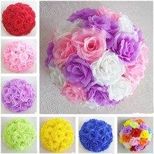1 PC Hanging Decorative Flower Ball Centerpieces Silk Rose Wedding Kissing Balls Pomanders Decoration Arrangement