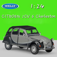 WELLY 1:24 Scale Metal Classic Model Car CITROEN 2CV 6 Charleston Diecast Toy Car Alloy Cars Toys For Children Gifts Collection