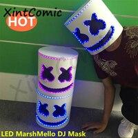 LED DJ Marshmello Mask Full Face Cosplay Costume Carnaval Halloween Prop pve Masks Helmet stereoscopic DJ mask Headgear