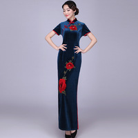 379abd8ce4ab8 Sexy Slim Velour Cheongsam Vintage Chinese Style Womens Gown Party Evening  Qipao Long Dress Clothes Vestidos