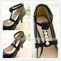 Fashion lace shoes accessories  Pearl decoration high heels with roses  Around the  bouquet of shoelaces