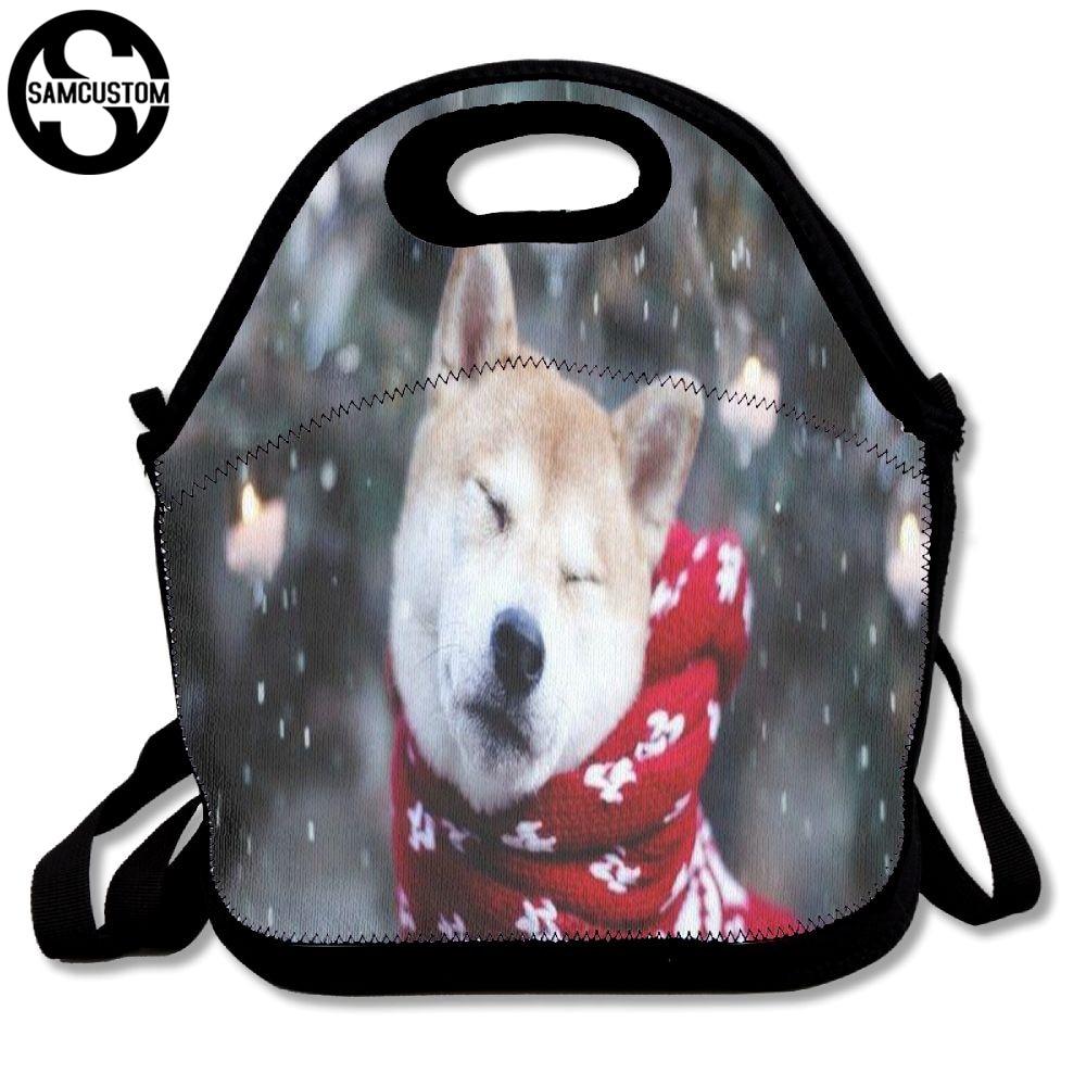 SAMCUSTOM 3D Print Shiba inu Wearing a scarf Lunch Bags Insulated Waterproof Food Girl Packages men and women Kids Boys Handbags