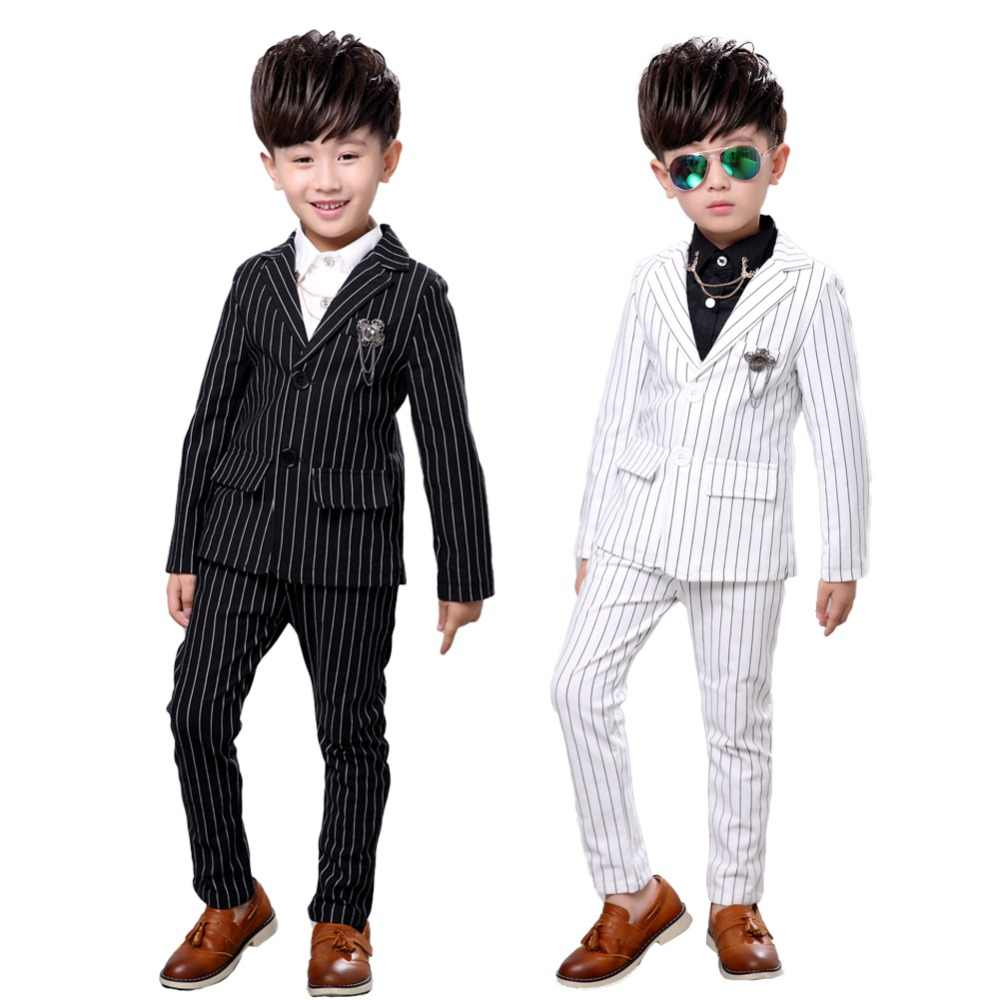 4bea1266b 2Pcs Kids boys Strip White Black Formal Wedding Dress Suits Casual Wear  Jacket Sets Slim Outfit