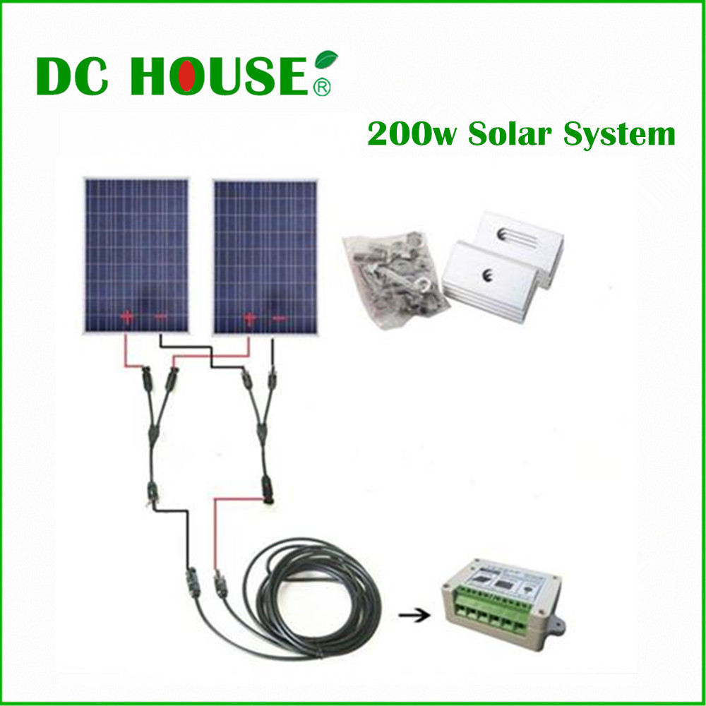 No Tax, COMPLETE KIT 200W Solar Panel Cells Off Grid System, 200w Solar System For Home au eu usa stock complete kit 600w solar panel cells off grid system 600w solar system for home free shipping