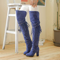 New Arrival Women Boots Square Heel High Heel Boots Black Over The Knee High Boots Fine Suede Fashion Fringe Boots Winter Shoes
