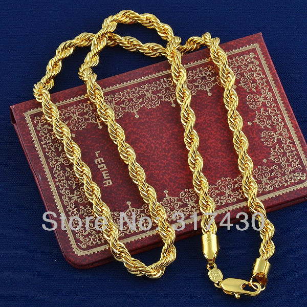 24424eeb22f6 Hot sale Twisted Splendid 14k Real Yellow Gold Filled Necklace Rope link Chain  Jewelry Mens or womens 60cm
