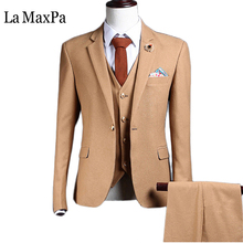 La MaxPa (jacket+pants+vest) Fashion model males go well with spring autumn informal slim match promenade groom enterprise occasion wedding ceremony gown go well with