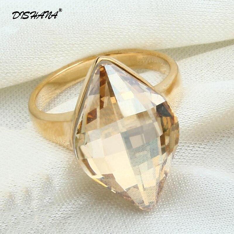 ka0016 Zirkonia Ringe Für Frauen/männer Schmuck Gold-farbe Mode Super Blue Erstellt Kristall Hochzeit Ringe Hell In Farbe