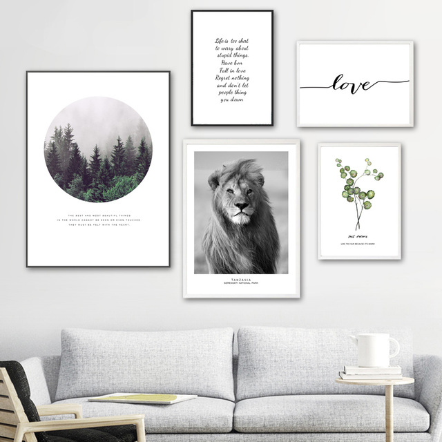 Lion Green Leafs Quotes Forest Landscape Wall Art 1