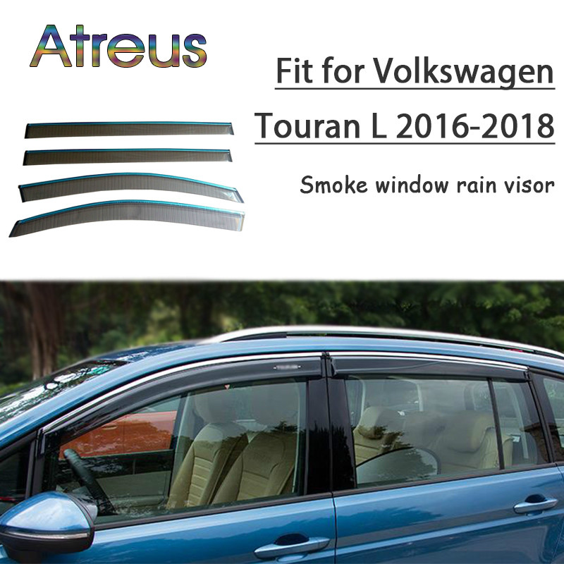 Atreus 1set ABS For 2018 2017 2016 VW Touran MK2 Accessories Car Vent Sun Deflectors Guard Smoke Window Rain Visor