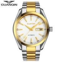Homens relógios guanqin relógio de pulso masculino automático auto vento hardlex luminosa à prova dwaterproof água relógio mecânico de luxo| | |  -