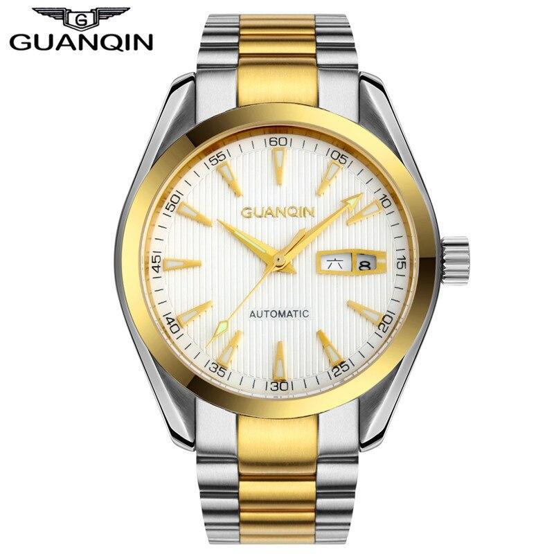 Hommes Montres GUANQIN Horloge Hommes Montre Homme Automatique Auto-Vent Saphir Cristal Lumineux Imperméable À L'eau De Luxe Montre Mécanique