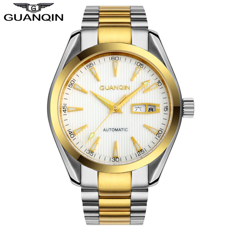 Mens Watches GUANQIN Clock Men Wristwatch Mens Automatic Self-Wind Sapphire Crystal Luminous Waterproof Luxury Mechanical Watch deluxe ailuo men auto self wind mechanical analog pointer 5atm waterproof rhinestone business watch sapphire crystal wristwatch