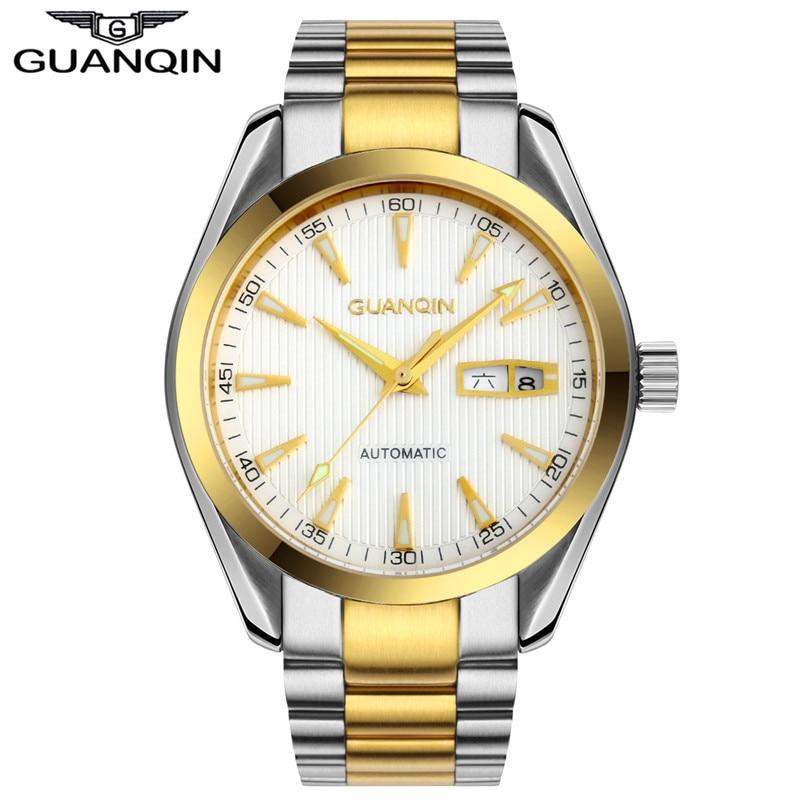 Mens Watches GUANQIN Clock Men Wristwatch Mens Automatic Self-Wind Sapphire Crystal Luminous Waterproof Luxury Mechanical Watch