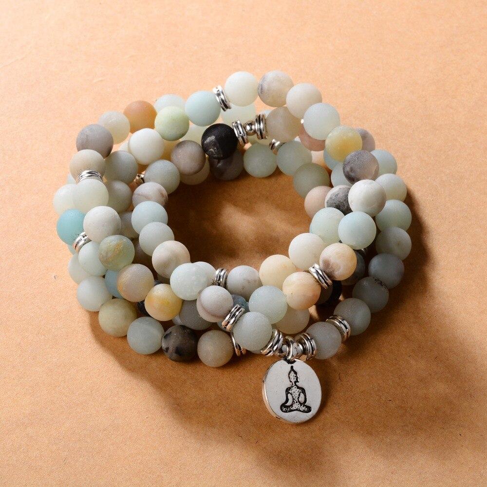 108 Kralen Natuursteen Boeddhistische Boeddha Mala Armband Voor Vrouwen Mannen Gebed Yoga Lotus Ohm Boeddha Charme Rozenkrans Decoratie