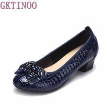 Las mujeres de Cuero Genuino Tacones Altos zapatos de Trabajo Zapatos de Las Cuñas Mujer Tacones Gruesos Bombas de diamantes de Imitación Zapatos de Las Mujeres Ocasionales