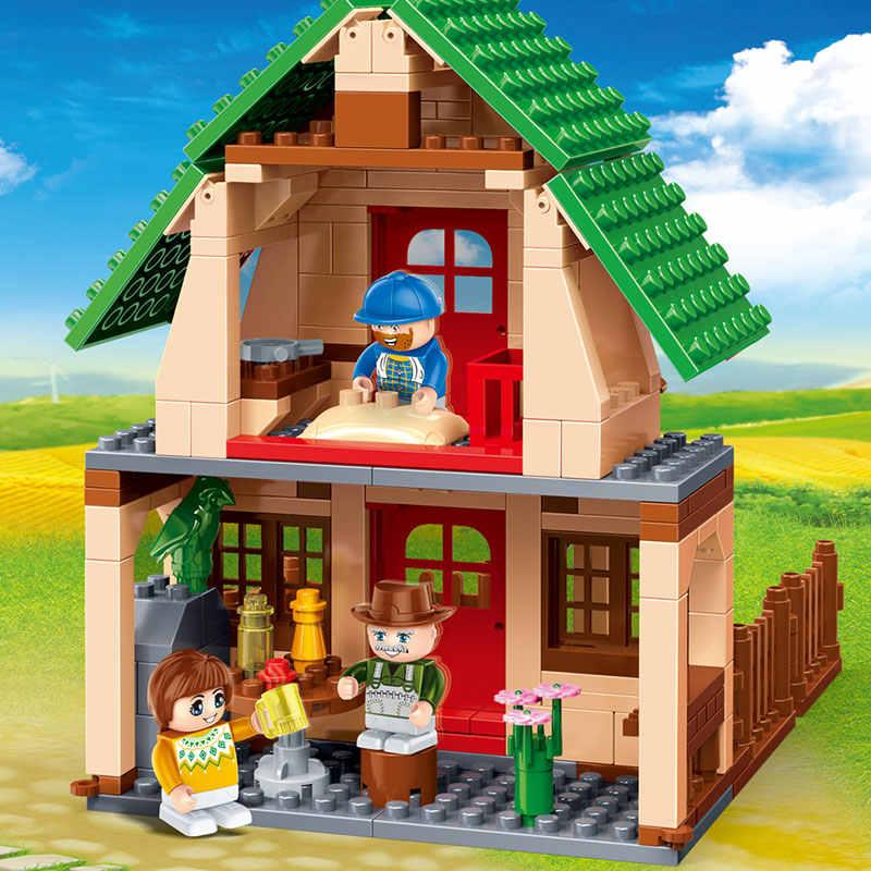 BanBao 8579 деревенский счастливый фермерский дом кирпичи развивающие строительные блоки модель игрушки для детей Совместимость с брендом
