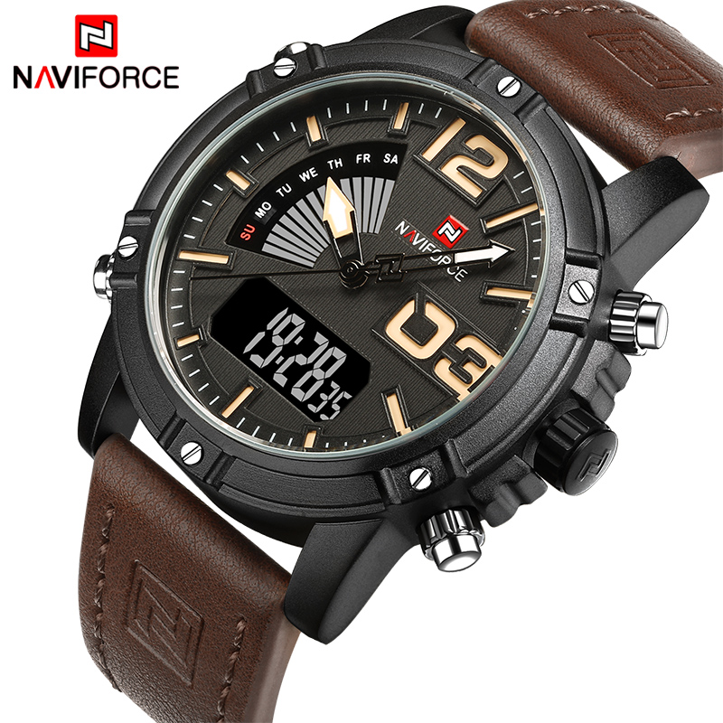 NAVIFORCE Brand Men's Dual Display Quartz Watch Man Army Military Sports Watches Men Leather strap relogio masculino +origin box 2017 new men digital sports military watch electronic dual time zone waterproof army watch relogio masculino relogio militar