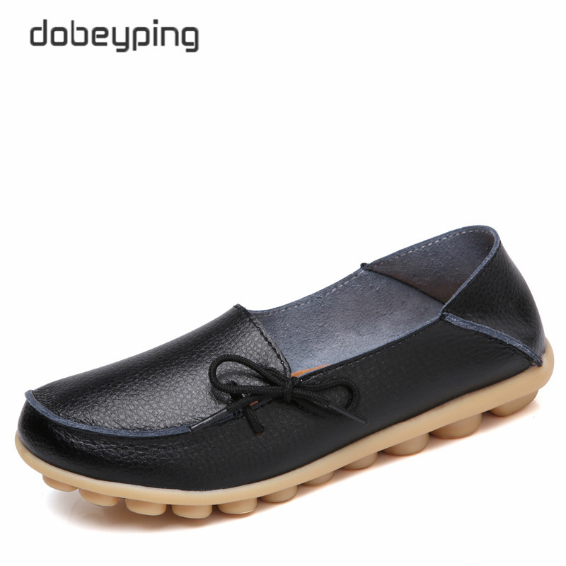 dobeyping 2018 New Spring Summer Women Shoes Genuine Leather Shoes Woman Lace-Up Female Flats Soft Ladies Loafers Big Size 35-44 flat shoes women pu leather women s loafers 2016 spring summer new ladies shoes flats womens mocassin plus size jan6
