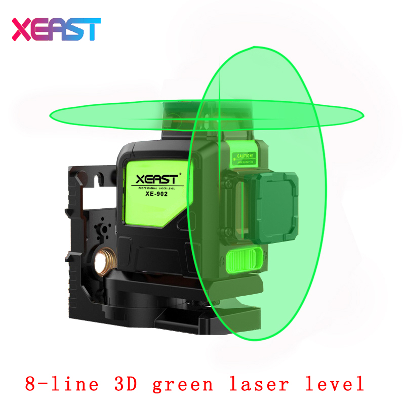 XEAST XE-902 8 Lines Green Laser Levels Self Leveling 360 Horizontal and Vertical Cross Super Powerful 3D Green Laser Beam Line thyssen parts leveling sensor yg 39g1k door zone switch leveling photoelectric sensors