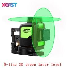 XEAST XE-902 8 Lignes Vert Laser Niveaux Auto Nivellement 360 Horizontal et Vertical Croix Super Puissant 3D Vert Faisceau Laser ligne