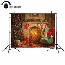 Allenjoy Navidad chimenea árbol fotografía de interior Fondo medias sillón vintage fiesta de bienvenida para el futuro bebé niños foto telones de fondo