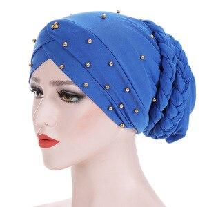 Image 1 - Muslim Women Elastic Bead Cross Cotton Braid Turban Hat Scarf Chemo Beanies Cap Hijab Headwear Head Wrap Hair Accessories
