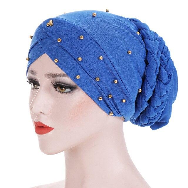 Muslim Women Elastic Bead Cross Cotton Braid Turban Hat Scarf Chemo Beanies Cap Hijab Headwear Head Wrap Hair Accessories