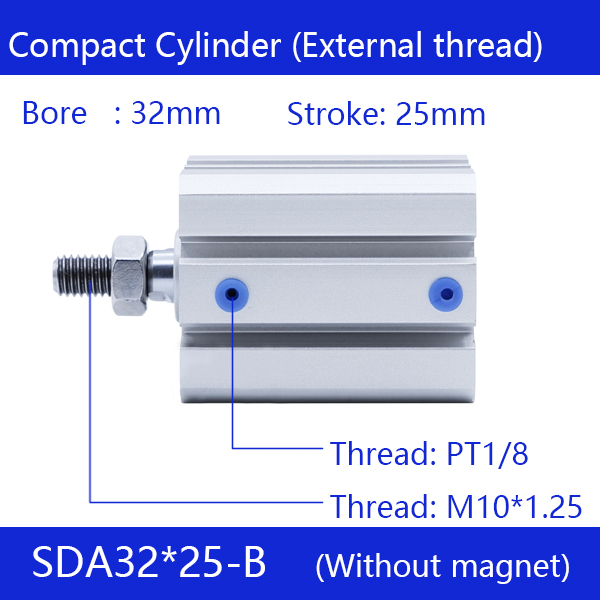 SDA32*25-B Free shipping 32mm Bore 25mm Stroke External thread Compact Air Cylinders Dual Action Air Pneumatic Cylinder dual usb car cigarette lighter charger for ipad mini ipad 4 3 2 white