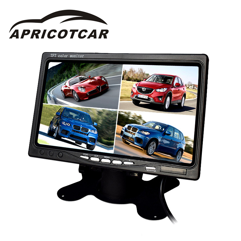 7 Inch Car monitor 4 Split Screen Display Car Truck Reversing Rear View Camera Monitor TFT with 4 Video Input 2 din car radio mp5 player universal 7 inch hd bt usb tf fm aux input multimedia radio entertainment with rear view camera