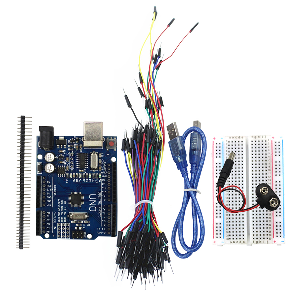 Starter Kit Комплект 5 предметов: UNO R3, макет, перемычек, Usb кабель, 9 В Батарея разъем UNO R3 Starter Kit для Arduino