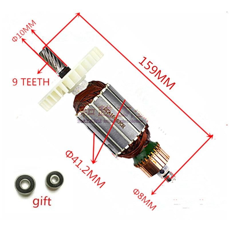 цена на AC 220-240V 9 Teeth Armature Motor Replacement for MAKITA 5704R 5704RK 516489-7 5806B 518629-3 Circular Saw rotor