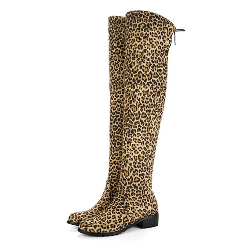 Imprimé Bout Talons Taille Rond Leopard Sur Le Bottes Troupeau Liée Med Dames Print Genou Plus 2018 De La Mode Asumer Croix Léopard black O8nP0wk