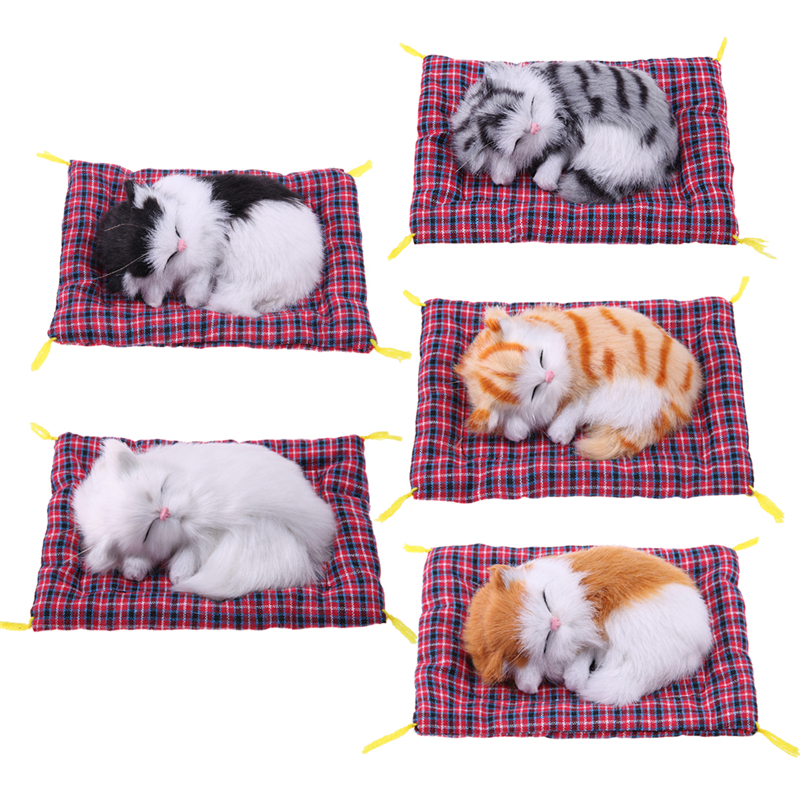 Kids Children Cute Kawaii Stuffed Animal Toy Doll Simulation Plush Sleeping Cat with Sound Baby Boy Girl Gift Home Decoration