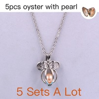 5PS Luxury Fashion Love Wish Pearl Necklace Set Oyster Drop Pendant necklaces