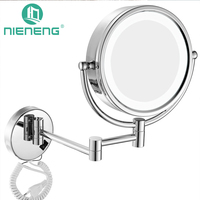 Nieneng Makeup Mirrors LED Wall Mounted Extending Folding Double Side LED Light Mirror 3X 10X Bath