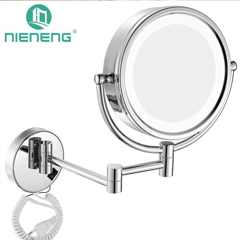 Nieneng Maquillage Miroirs LED Mur Monté S'étendant Pliant Double Face LED Lumière Miroir 3X 10X miroir De Salle de Bain Miroir De Toilette ICD60521