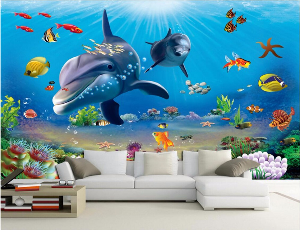 Wdbh personalizado mural 3d wallpaper mar mundo de dibujos for Mural pared personalizado
