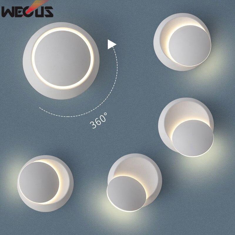 (WECUS) DIODO EMISSOR de luz de cabeceira lâmpada de Parede Lâmpada de 360 graus de rotação ajustável Preto branco criativo Preto lâmpada de parede moderna corredor lâmpada rodada