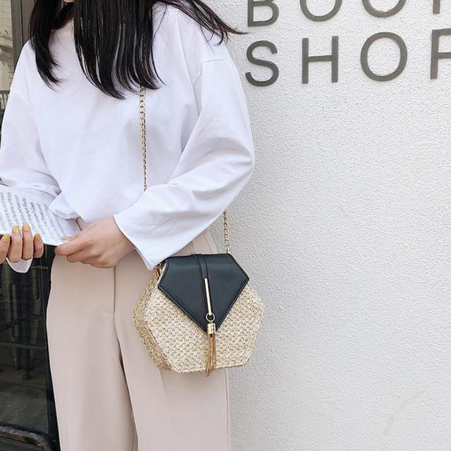 Straw Bags for Women 2019 PU leather Handbag Hexagon MulitStyle
