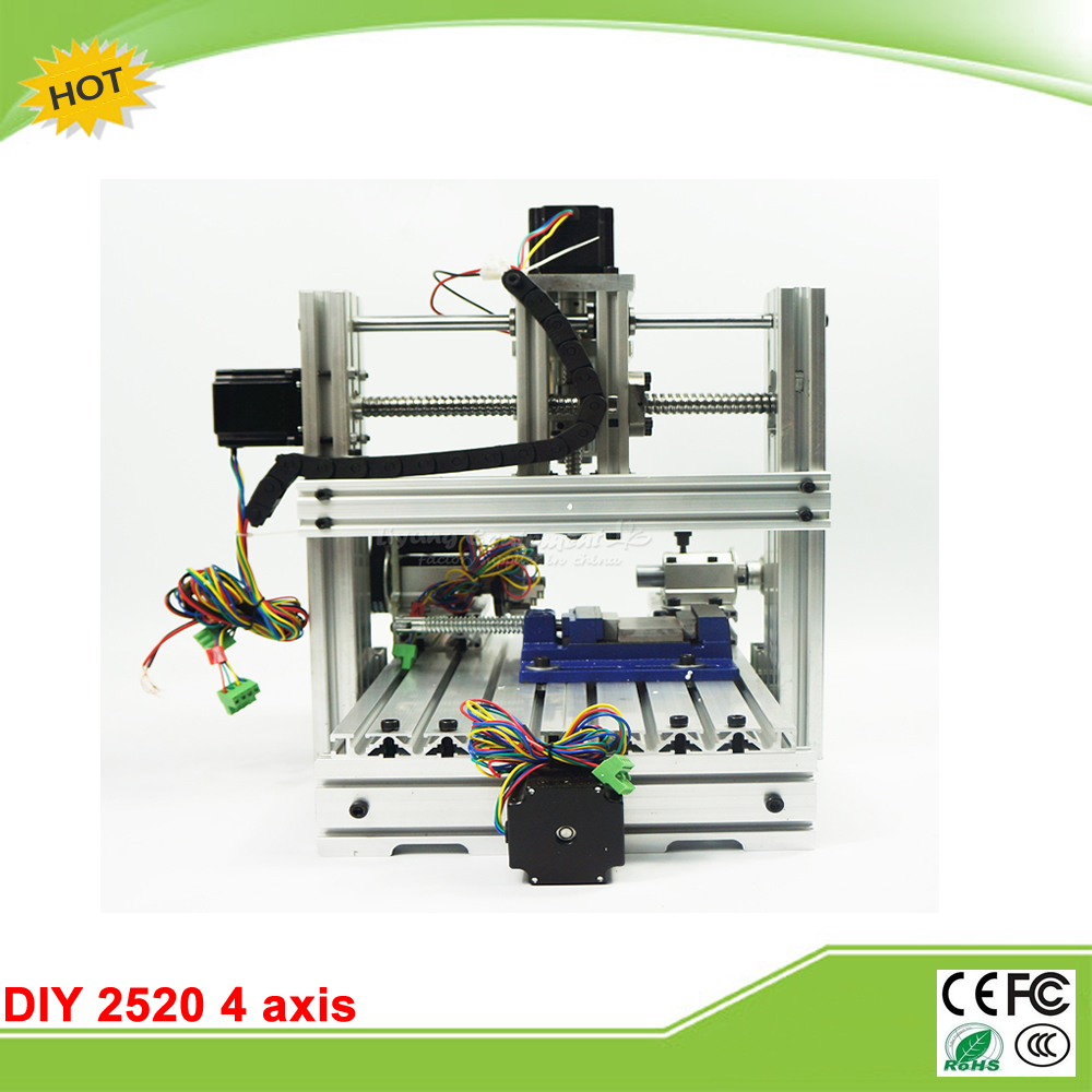 cnc router Engraving machine  DIY 2520 4axis Engraving Drilling and Milling Machine with rotary axis no tax to RU 4 axis cnc machine cnc 3040f drilling and milling engraver machine wood router with square line rail and wireless handwheel