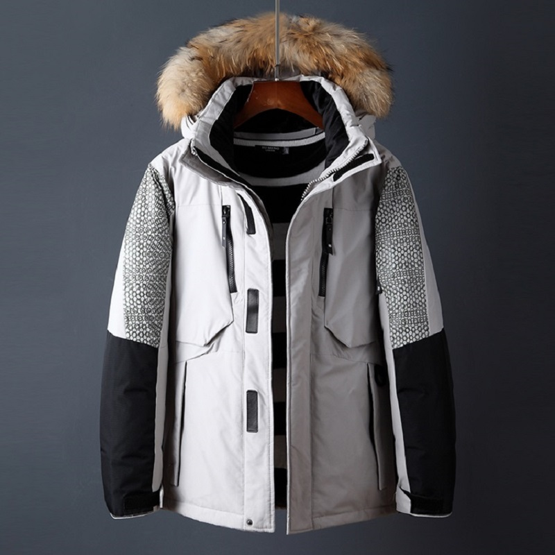 2018 men winter jacket thick warm white duck down coat high quality brand clothing casual fur removable hood mens parka