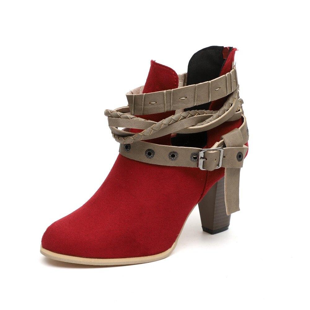 fade4b22a0557 Pu Cuero Altos Mujeres Otoño La Footwearuij9 Zapatos Tacones Hebilla gris  Negro Las Botines Más Remaches Bloque Tamaño Hembra Señoras ...
